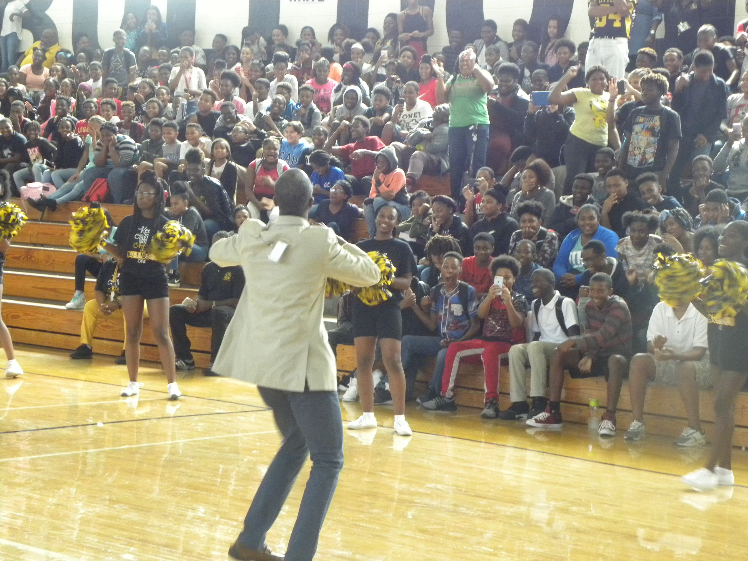 LMS teacher, Mr. Bland dancing at Pep Rally